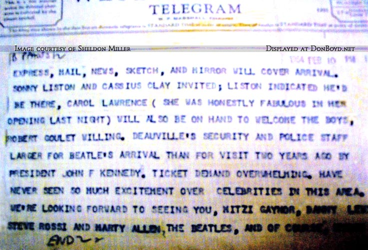 1964 - page 2 of telegram from Morris Lansburgh to Ed Sullivan about the Beatles and upcoming show from Miami Beach