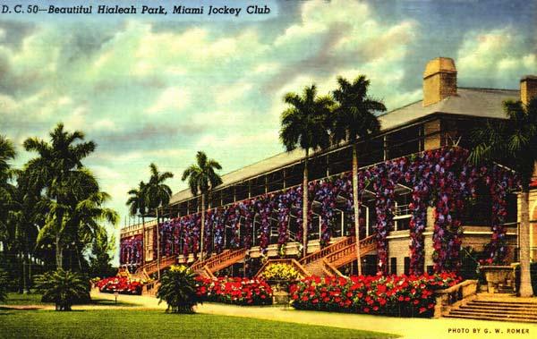 Miami Jockey Club at Hialeah Park - postcard
