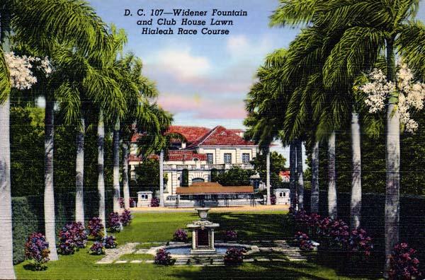 Widener Fountain and Club House lawn, Hialeah Park - postcard