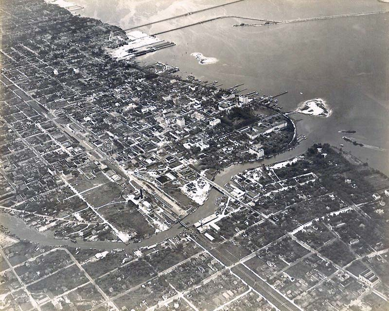 Early 1920s - Aerial view of Miami River, Downtown Miami, and Biscayne Bay shoreline