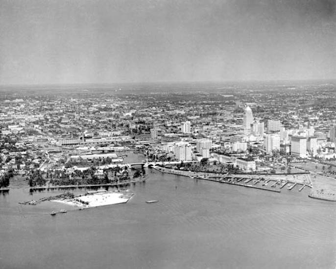 1930 - Aerial of downtown Miami and the mouth of the Miami River