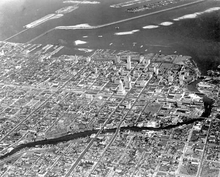1930 - Aerial of downtown Miami, looking east-northeast