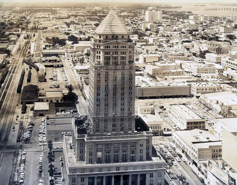 1962 - Downtown Miami looking north with FEC train station on the left