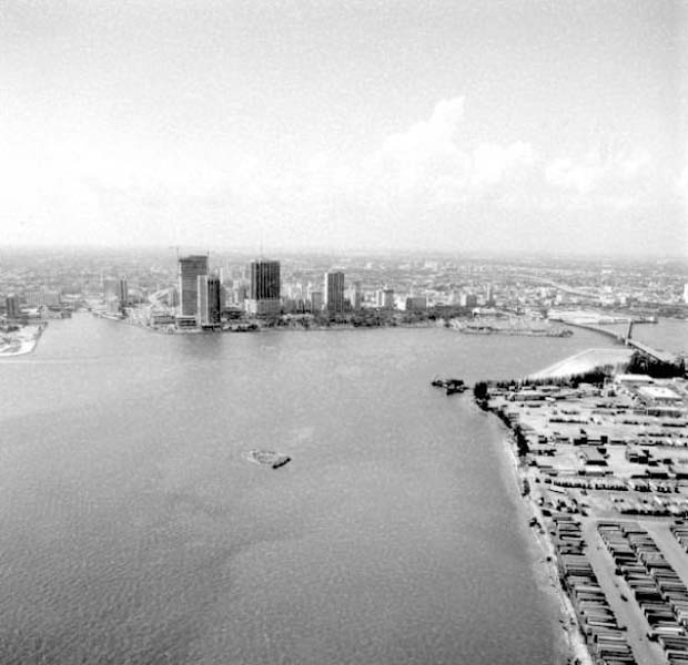 1981 - Downtown Miami looking west from south of Dodge Island