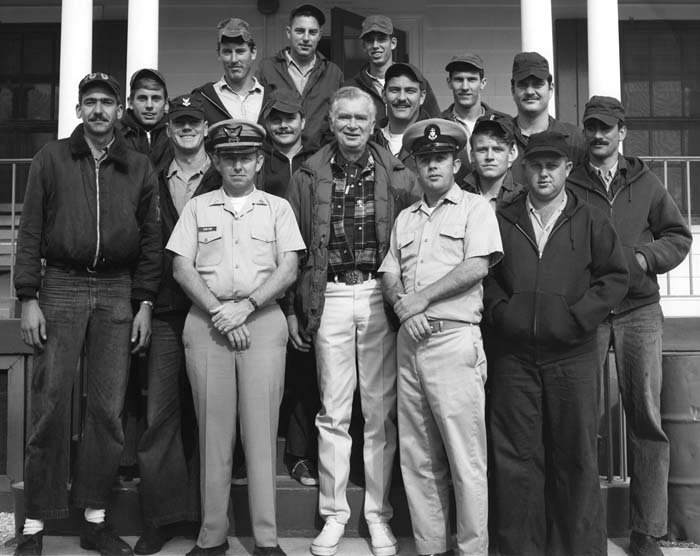 1970 - Actor Buddy Ebsen and most of the crew of Coast Guard Station Lake Worth Inlet on Peanut Island