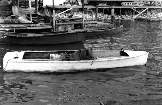 1952 - Burl Greys boat at a dock at Barneys Bayshore Boat Rentals and where the Miami Herald later built on the bay