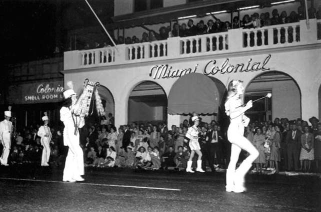 1947 - Majorettes leading the Miami Senior High School Band in the Orange Bowl parade
