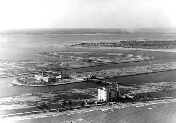 1920 - Gulfstream Apartments on Miami Beach, St. Francis Hospital on Allison Island, LaGorce Island & Normandy Isle to the right