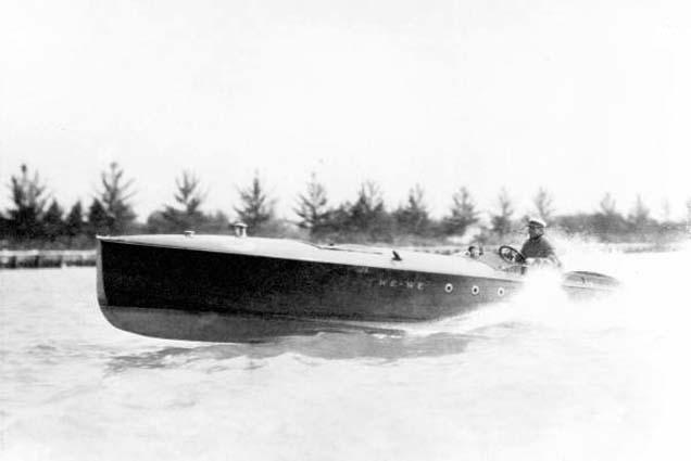 1920 - Carl Fisher in his speedboat We-We