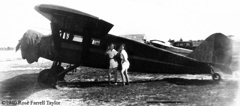 1940 - Beatrice Wirth and Sarah Hughes posing with NC469M at either Hialeah Airport  or Miami Municipal Airport