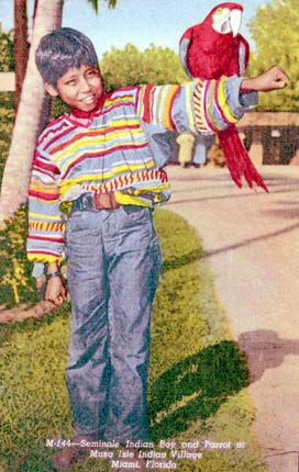 1954 - Seminole Indian boy and parrot at the Musa Isle Indian Village on the Miami River