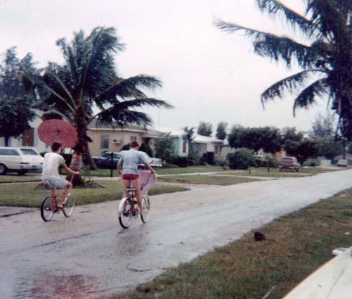 1960s - neighborhood kids enjoying high winds on W 17th Street, Hialeah