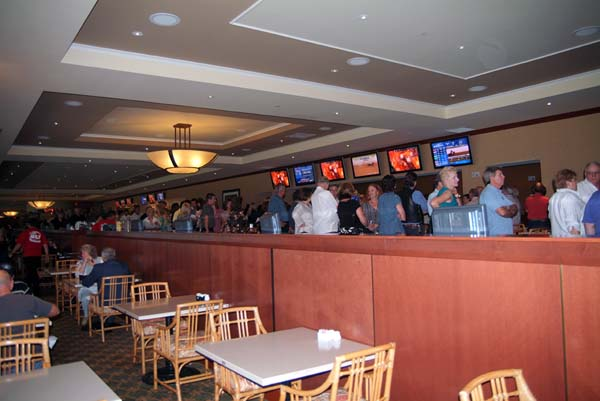 The lengthy (1+ hour wait in line) buffet dinner line at Rick Shaws retirement party