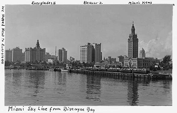 1930s - the downtown Miami skyline from Biscayne Bay