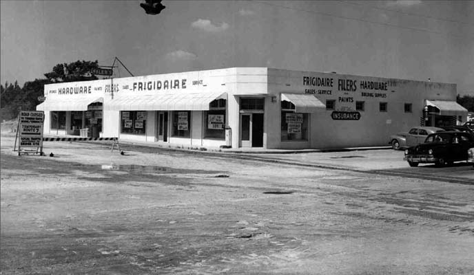 1951 - Filers Hardware store on the southwest corner of NW 7 Avenue and 95 Street, Miami