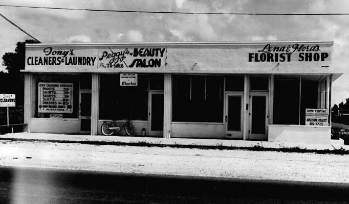 1951 - Tonys Cleaners and Laundry, Peggys Beauty Salon and Lenas and Floras Florist Shop, NW 79 Street and 16 Avenue, Miami