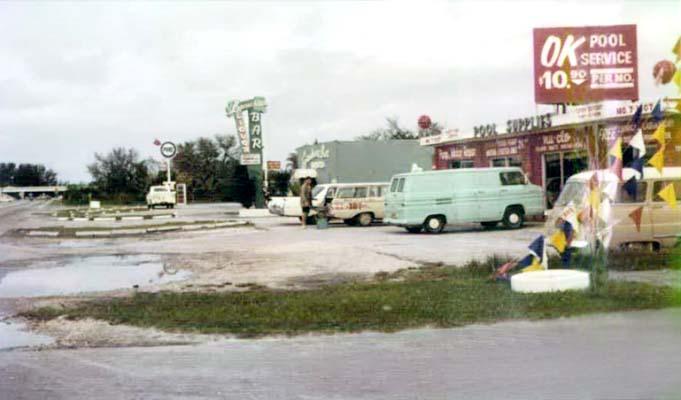 1965 - OK Pool Service, 7295 Bird Road, and the Leprechaun Bar in background, Miami