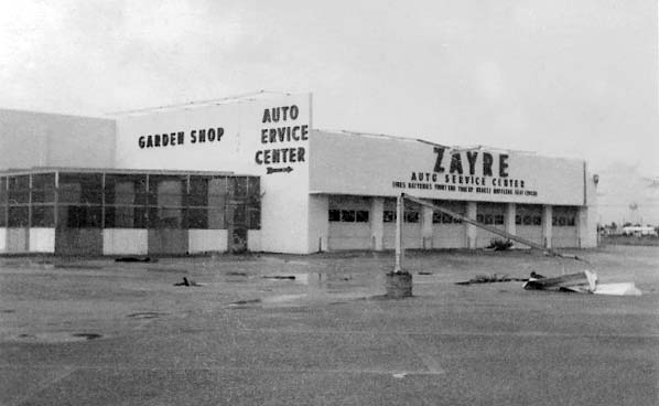 1966 - Hurricane damage at Zayre Auto Service on Palm Springs Mile (W. 49 Street)