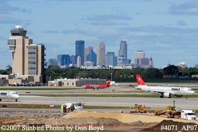 Minneapolis-St. Paul International Airport and downtown Minneapolis