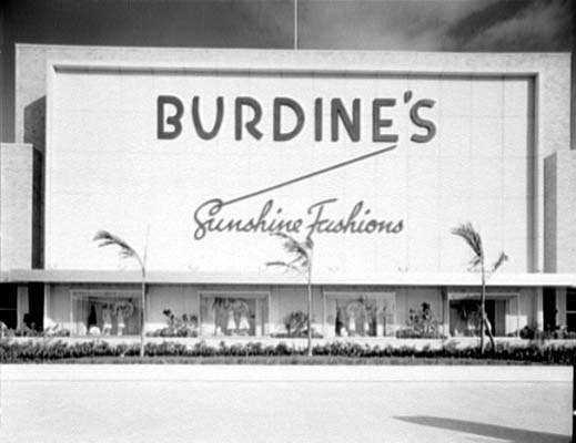 1957 - the south entrance of the Burdines department store at 163rd Street Shopping Center