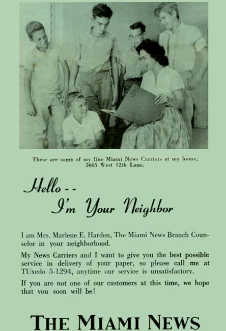 1962 - Marlene Harden, Miami News counselor, with a group of her Miami News paperboys