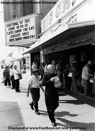 1970s - the Paris Adult Theatre and the Big Chips Fruit Stand on Washington Avenue between 5th and 6th Streets