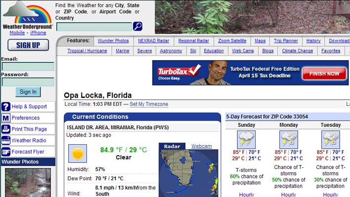 Weather Underground has it wrong as Opa Locka