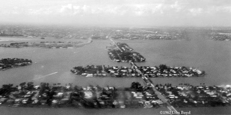 1962 - aerial view of the Venetian Causeway islands from the Goodyear Blimp Mayflower