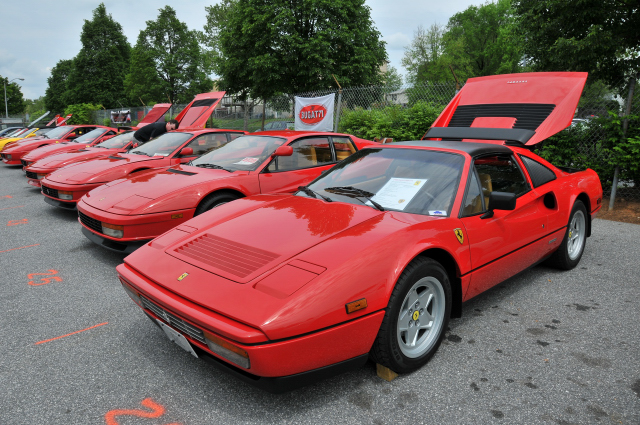 1988 Ferrari 328 GTS, foreground, and 3 Testarossas (3267)