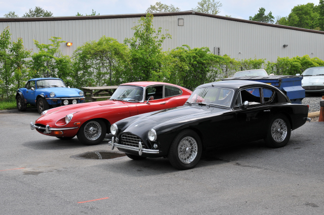 1956 AC Bristol, foreground, and 1970 Jaguar E-Type 4.2 Litre Series II (FHC) Fixed-Head Coupe (3703)