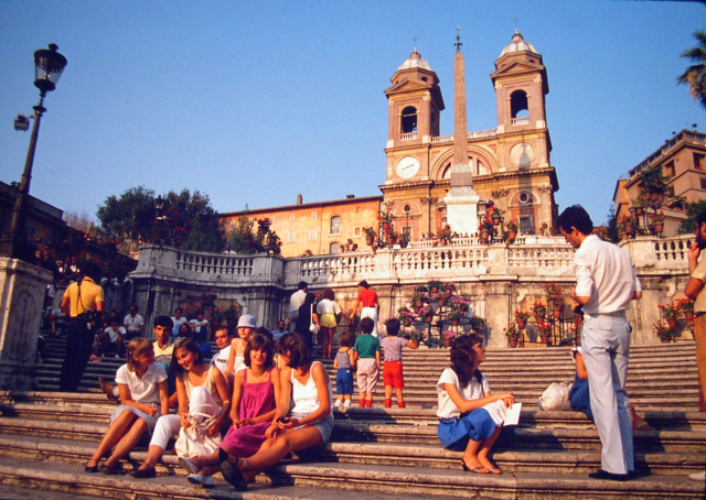 Spanish Steps, which overlooks shoppers mecca Via Condotti, Rome, 1982.
