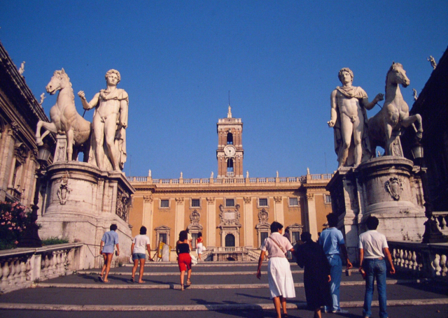 Piazza del Campidoglio, largely designed by Michelangelo,  Rome, 1982.