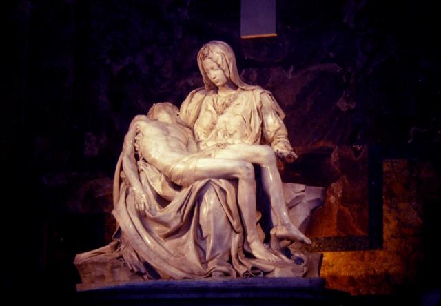 Michelangelos Pieta, St. Peters Basilica, Vatican, 1982.