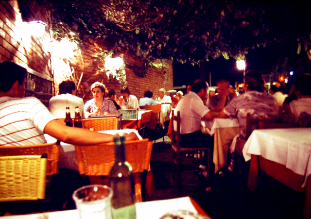 A restaurant in the Trastevere section of Rome, 1982.