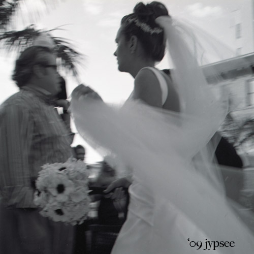 bride rushes by
