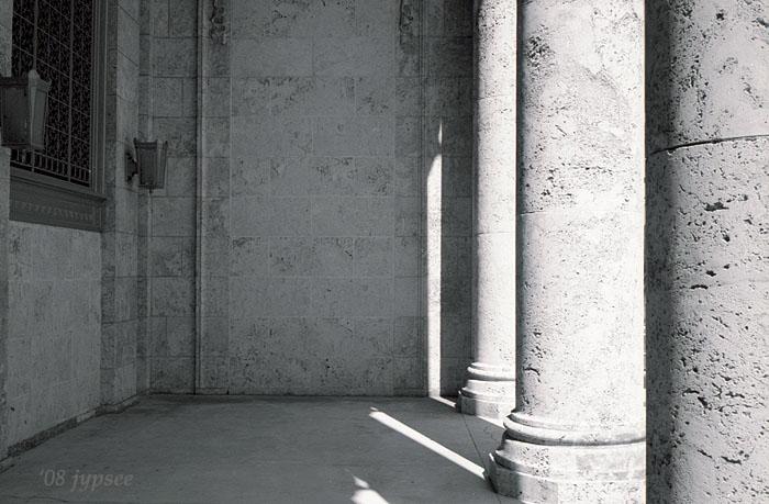 art center pillars in late afternoon light