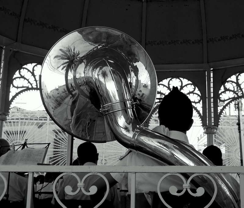 The trombone player