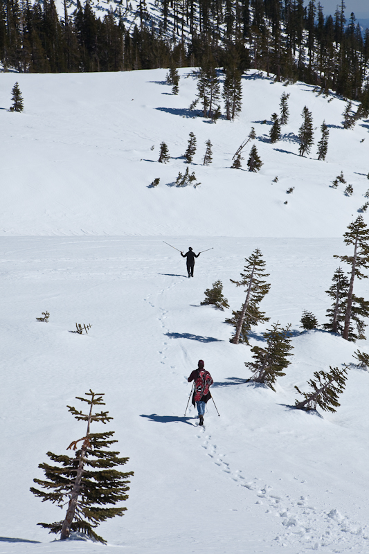 Snowshoers Going Down-Vertical-Wider View-1957