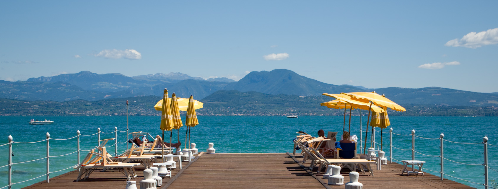 Terrace of a luxury hotel at the northern tip of Sirmione