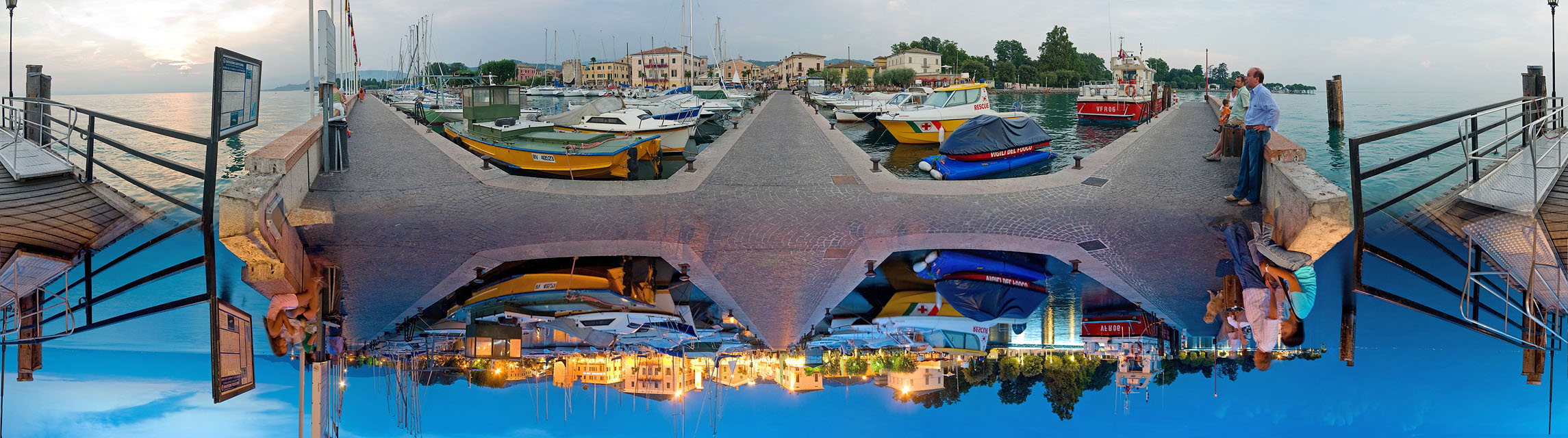 Bardolino harbor at day and night