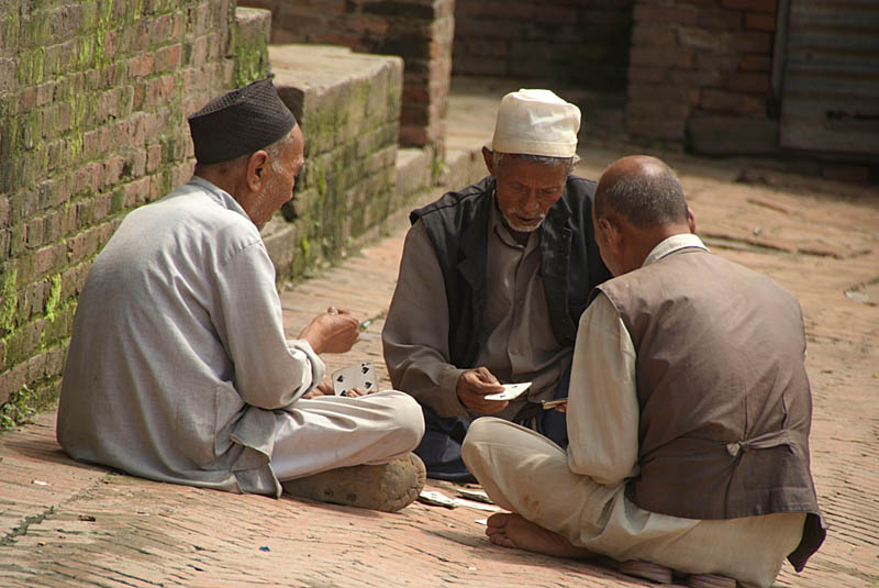 Three Men Playing Cards Bhaktapur