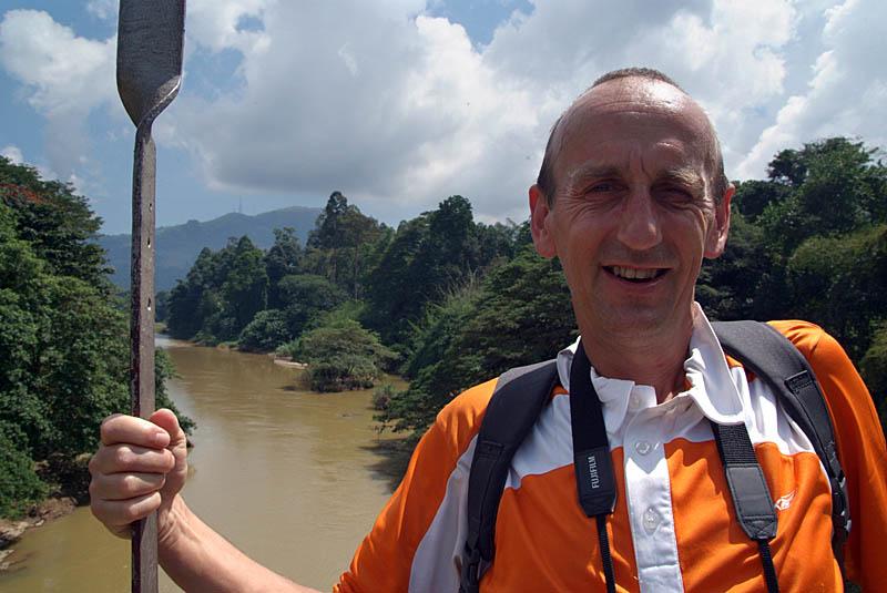 Chris on the Bridge Kandy Botanical Gardens