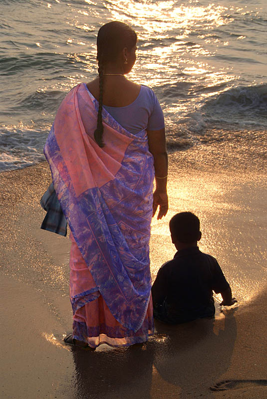 Woman in Pink and Blue Sari with Child Varkala
