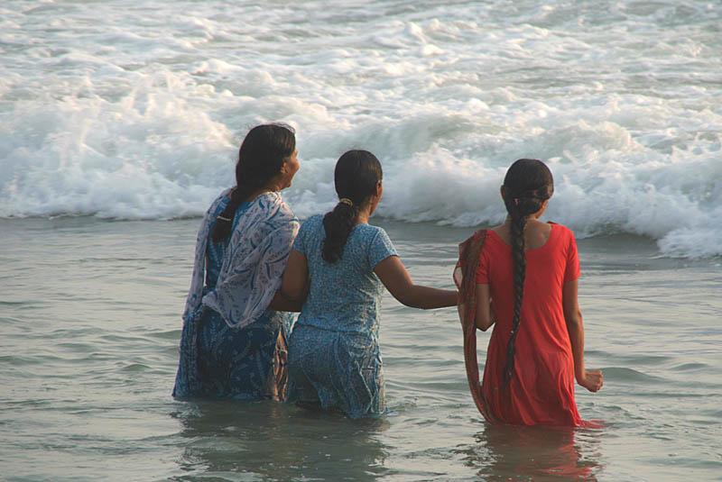 Indian Women in the Sea at Varkala 02