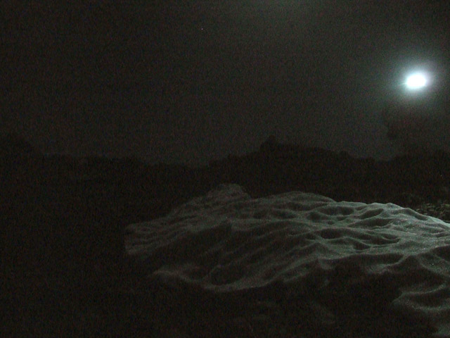 Patches of Snow at Night on Topa