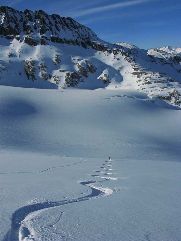 Skiing on the Spearhead Glacier, Garibaldi Park