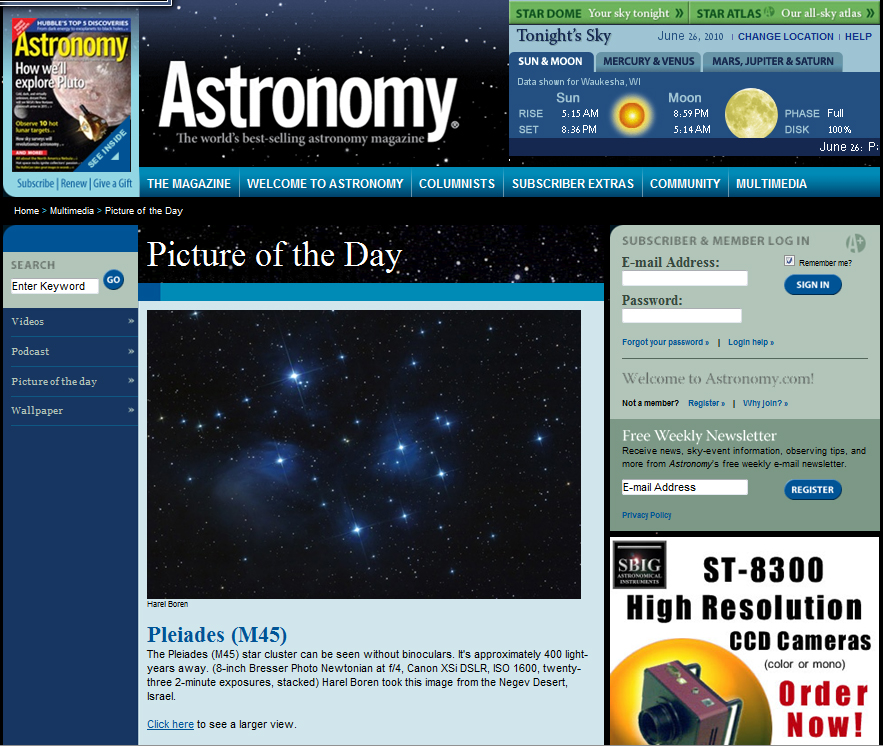 June 26, 2010 Picture of the Day in Astronomy Magazines Web Site Pleiades (M45)