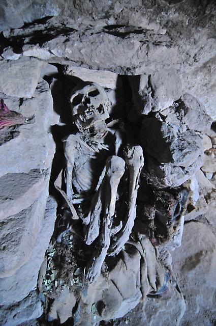 Mummies in a cave on the side of Volcan Tunupa