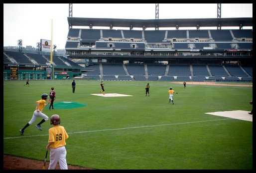 into the outfield!