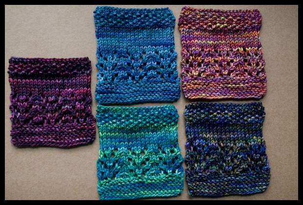 0002. Rios swatches, beg. from left clockwise, Purpuras, Azules, Archangel, Candombe, Solis.